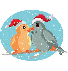 Christmas birds sitting on a tree branch vector