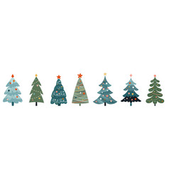 christmas trees collection modern flat design vector image