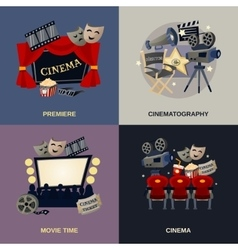Cinema Flat Set vector image