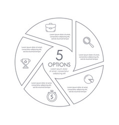 Circle outline infographic with 5 steps or options vector