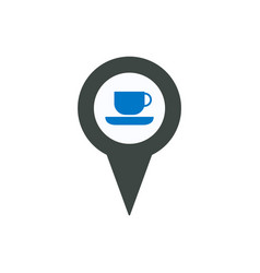 coffee cup location pin place pointer tea icon vector image