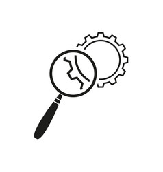 Cogwheels lupe icons vector