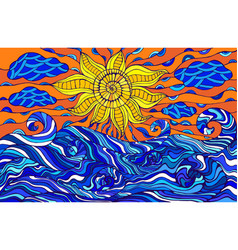colorful doodle sun clouds and ocean waves vector image