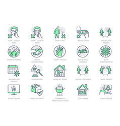 Coronavirus prevention line icons vector