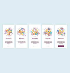Creative thinking skills onboarding mobile app vector
