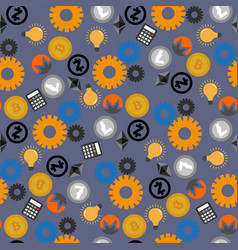 cryptocurrencies mining seamless pattern vector image