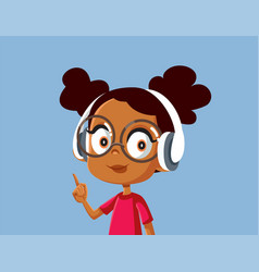 Cute african girl wearing headphones vector
