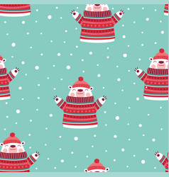 cute winter pattern with bear vector image