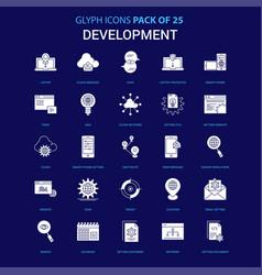 development white icon over blue background 25 vector image
