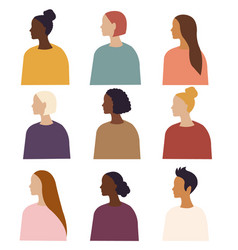 Different ethnicity women poster isolated white vector