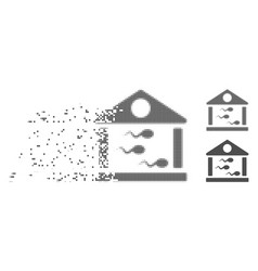 Dispersed pixel halftone sperm bank icon vector