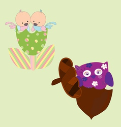 drawings of birds and owls baby vector image