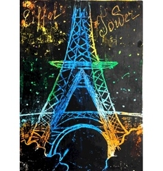 Eiffel Tower painted vector image
