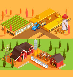 Farm isometric banners vector