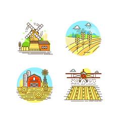 Farming logo collection in line design farm vector