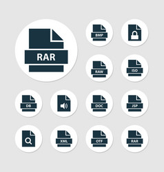 file icons set with raw text audio and other xml vector image