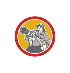 Fireman Firefighter Aiming Fire Hose Circle vector
