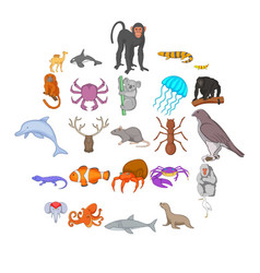 fishs icons set cartoon style vector image