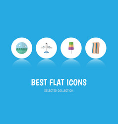 Flat icon beach set of wiper aircraft ocean and vector