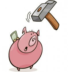 frightened piggy bank and hammer vector image