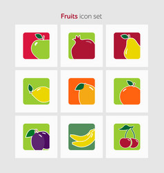 Fruit icon set simple flat vector