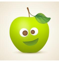 Funny green apple vector