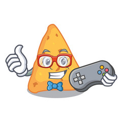 gamer nachos mascot cartoon style vector image
