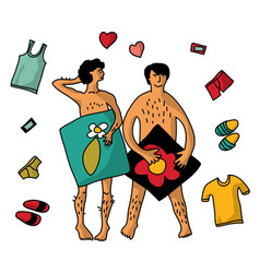 Gay homosexual naked man couple isolate objects vector