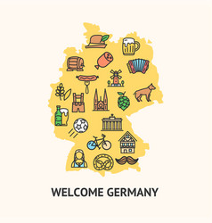 germany travel banner card with map vector image