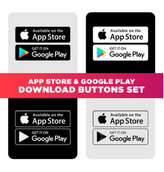 Google play and apple app store download buttons vector