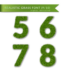 Grass numbers 5 6 7 8 green numbers five six vector