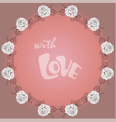 greeting card with round floral frame and vector image