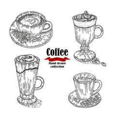 Hand drawn black coffee cup irish coffee vector