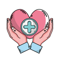 Hands with heart medicine symbol to help the vector