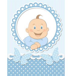 Happy baby boy scrapbook blue frame vector