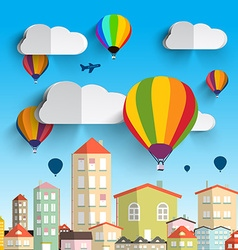 Hot Air Balloons with Clouds with Houses on vector