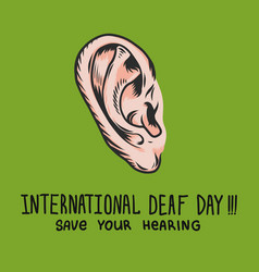 international deaf day green concept background vector image