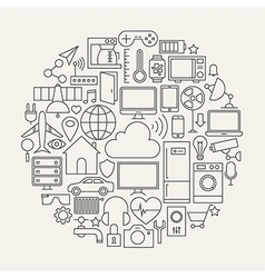 Internet of Things Line Icons Set Circle Shape vector