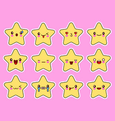 kawaii stars cartoon character set face with eyes vector image