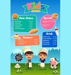 Kids meal menu vector