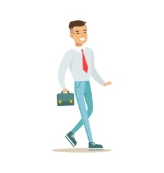 Man With Suitcase Going To Work Part Of Office vector image