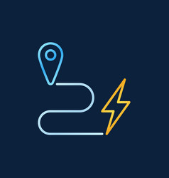 map pointer and lightning outline colorful vector image
