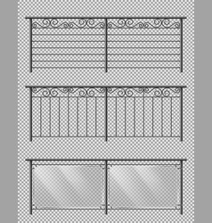 metal and glass handrails realistic set vector image