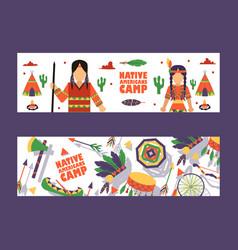 Native american camp banner vector