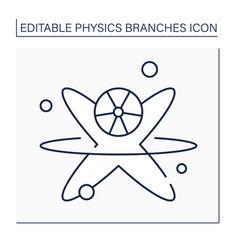 Nuclear physics line icon vector