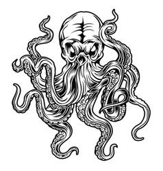 Octopus black tattoo design vector