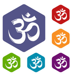 Om symbol hinduism icons hexahedron vector