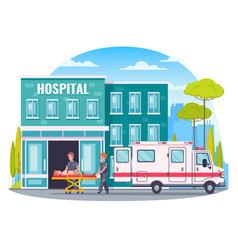 Paramedic ambulance cartoon concept vector