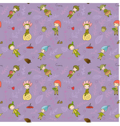 pattern with cute cartoon gnomes funny elves vector image