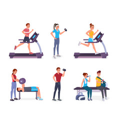 people in gym vector image